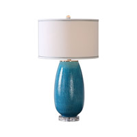 Friona 28 inch 150 watt Blue Glaze Table Lamp Portable Light