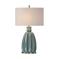 Suzanette 30 inch 150 watt Sky Blue Ceramic Table Lamp Portable Light