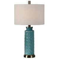 Uttermost 27259-2 Serres 29 inch 150.00 watt Crackled Blue with Brushed Nickel Table lamps Portable Light Set of 2