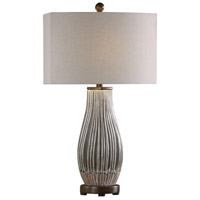 Uttermost 27261-2 Katerini 30 inch 100.00 watt Crackled Mushroom Gray with Rustic Bronze Table lamps Portable Light Set of 2