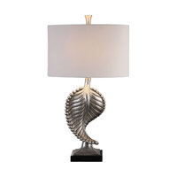 Uttermost Beaded Leaf 1 Light Table Lamp in Metallic Silver 27307-1