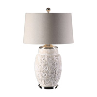 Uttermost Capron 1 Light Table Lamp in Textured White Ceramic 27313