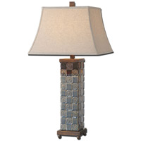 Uttermost Mincio 1 Light Table Lamp in Distressed Dark Blue Glaze 27398