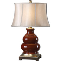 Uttermost Villalago 1 Light Table Lamp in Glossy Deep Maroon 27426