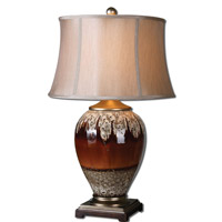 Uttermost Alluvioni 1 Light Table Lamp in Glossy Rust Bronze Glaze 27450
