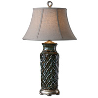 Uttermost Valenza 1 Light Table Lamp in Blue Glaze 27455