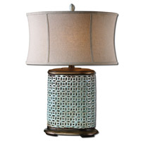 Uttermost Rosignano 1 Light Table Lamp in Crackled Aged Blue 27475-1