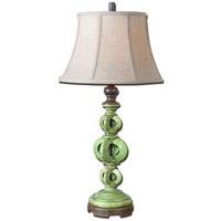 Uttermost Civita 1 Light Table Lamp in Heavily Antiqued Crackle Green Glaze 27490