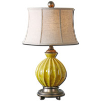 Uttermost Pratella 1 Light Table Lamp in Distressed Burnt Yellow Glaze 27491