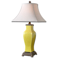 Uttermost Molvena 1 Light Table Lamp in Distressed Burnt Yellow Glaze 27496