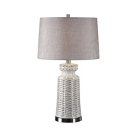 Kansa 29 inch 150 watt Distressed White Table Lamp Portable Light, David Frisch