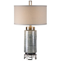 Uttermost 27549 Vanora 31 inch 150 watt Cerulean Blue Glaze and Plated Brushed Nickel Table Lamp Portable Light