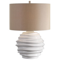 Gisasa 25 inch 150 watt Crackled Gloss White Glaze and Brushed Nickel Table Lamp Portable Light