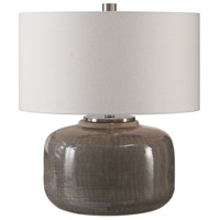 Dhara 22 inch 150 watt Warm Gray Glaze and Brushed Nickel Table Lamp Portable Light