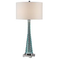 Mecosta 34 inch 150 watt Sky Blue with Polished Nickel Table Lamp Portable Light