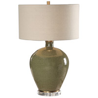 Elva 27 inch 150 watt Distressed Emerald Green Glaze and Antique Brass Table Lamp Portable Light