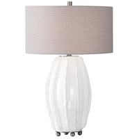 Marazion 29 inch 150 watt Gloss White Glaze with Brushed Nickel Table Lamp Portable Light