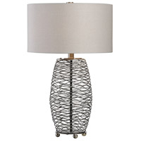 Uttermost 27768-1 Sinuous 28 inch 150 watt Wavy Steel Mesh Table Lamp Portable Light thumb