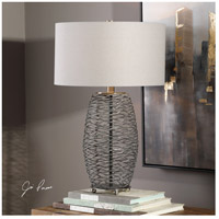Uttermost 27768-1 Sinuous 28 inch 150 watt Wavy Steel Mesh Table Lamp Portable Light 27768-1_Lifestyle.jpg thumb