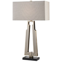 Alvar 32 inch 150 watt Antiqued Nickel and Black Marble Table Lamp Portable Light