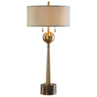 Kensett 36 inch 60 watt Brushed Brass with Antiqued Brass Table Lamp Portable Light