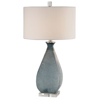 Uttermost 27823 Atlantica 29 inch 150 watt Acid Etched Deep Ocean Blue Glass and Crystal Table Lamp Portable Light
