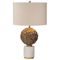 Uttermost White Marble Fabric Table Lamps
