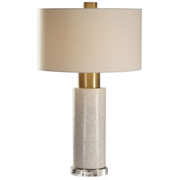 Uttermost 27854 Vaeshon 29 inch 150 watt Bleached Washed Concrete and Brushed Brass Table Lamp Portable Light