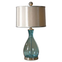 Meena 29 inch 150 watt Clear Blue Mouth Blown Glass Body Table Lamp Portable Light