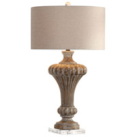 Uttermost 27863 Treneece 32 inch 150 watt Aged Pecan with Antique Gray Wash Table Lamp Portable Light thumb