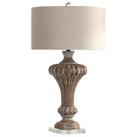 Uttermost 27863 Treneece 32 inch 150 watt Aged Pecan with Antique Gray Wash Table Lamp Portable Light 27863_A.jpg thumb