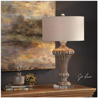 Uttermost 27863 Treneece 32 inch 150 watt Aged Pecan with Antique Gray Wash Table Lamp Portable Light 27863_Lifestyle.jpg thumb