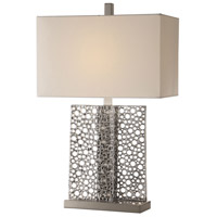Sicero 26 inch 150 watt Polished Silver and Brushed Nickel Table Lamp Portable Light