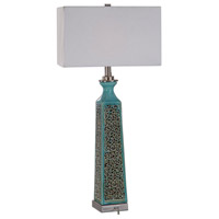 Uttermost 27869-1 Camille 32 inch 100 watt Aged Turquoise Glaze with Rust Brown Distressing Table Lamp Portable Light