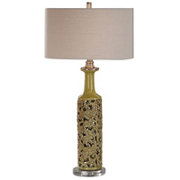 Uttermost 27873-1 Nellie 31 inch 100 watt Yellow-Green Glaze over Floral Detailing Table Lamp Portable Light