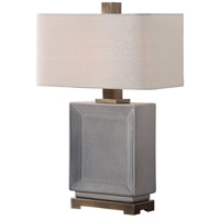 Abbot 28 inch 150 watt Crackled Gray Glaze and Antique Bronze Table Lamp Portable Light