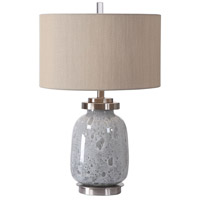 Uttermost 27938-1 Eleanore 27 inch 150 watt Blue-Gray Seeded Glaze and Brushed Nickel Table Lamp Portable Light