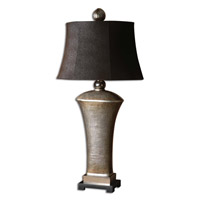Afton 37 inch 100 watt Lightly Antiqued Silver Champagne Leaf Table Lamp Portable Light