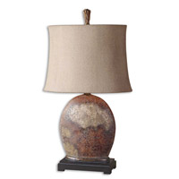 Yunu 30 inch 100 watt Heavily Distressed Rusty Brown Table Lamp Portable Light