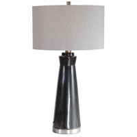 Uttermost 28207-1 Arlan 31 inch 150 watt Glossy Dark Charcoal Glaze and Brushed Nickel Table Lamp Portable Light
