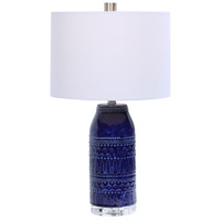 Uttermost 28336-1 Reverie 25 inch 150 watt Deep Blue Glaze with Crystal and Brushed Nickel Table Lamp Portable Light