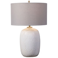 Uttermost 28390-1 Winterscape 26 inch 150.00 watt Cream-Ivory Drip Glaze and Brushed Nickel Table Lamp Portable Light