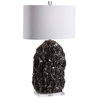 Uttermost 28418-1 Wrinkle 31 inch 150.00 watt Gloss Black Glaze with Subtle Ivory Rub-through Table Lamp Portable Light