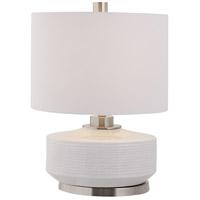 Uttermost 28430-1 Sailor 25 inch 150.00 watt Crackled Ivory Glaze with Brushed Nickel Details Table Lamp Portable Light