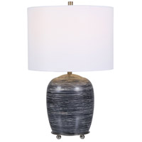 Uttermost 28444-1 Transpose 22 inch 150.00 watt Satin Black and Ivory Ceramic Table Lamp Portable Light