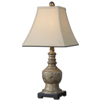 Valtellina 26 inch 100 watt Heavily Antiqued Taupe Gray Wash Table Lamp Portable Light