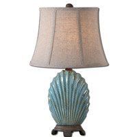 Seashell 23 inch 60 watt Crackled Blue Glaze Table Lamp Portable Light