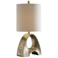 Ladler 25 inch 150 watt Metallic Gold Leaf and Light Bronze Patina Table Lamp Portable Light