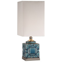 Pacorro 26 inch 150 watt Crackled Blue Glaze and Polished Nickel Table Lamp Portable Light