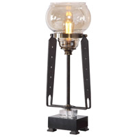 Uttermost 29643-1 Curie 23 inch 60 watt Amber Glass with Forged Iron and Antique Brass Accent Lamp Portable Light